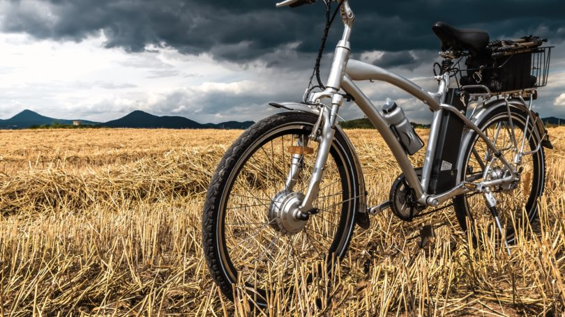 Electric Bicycle Ebike Field Cloudy Sky