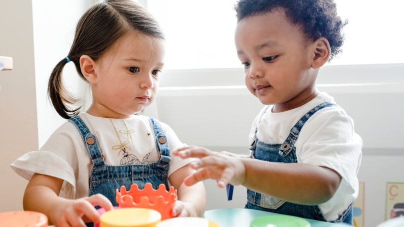 Kids Playing Toys Learning Center Pails