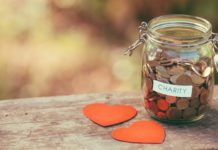 Charity Coins In A Jar Giving Donation Hearts