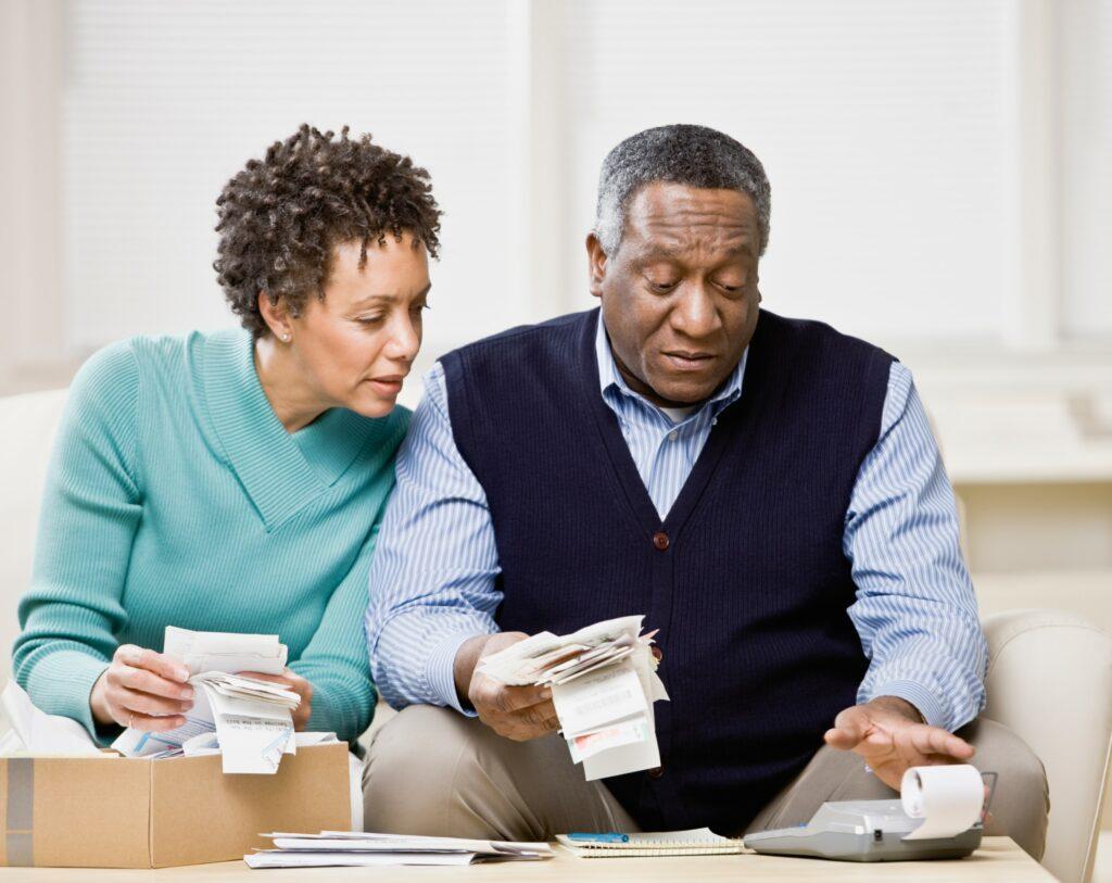 Couple Checking Receipts Calculator