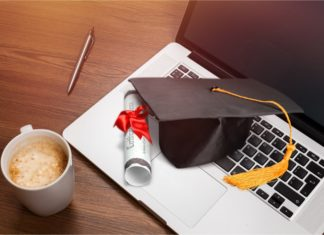 Online Degree Laptop Diploma Cap Coffee