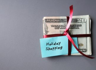 Holiday Shopping Post It Budget Red Ribbon
