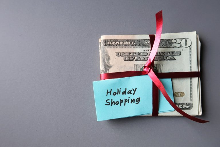 Holiday Shopping Post It Budget Red Ribbon