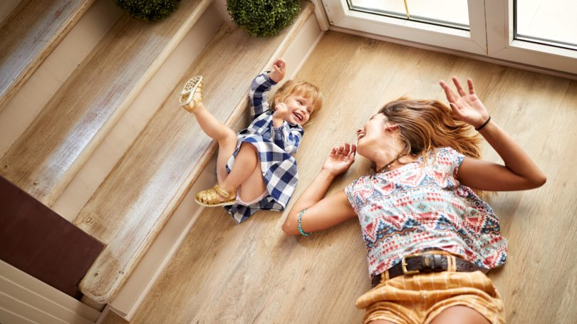 Babysitter Child Girl Playing On The Floor