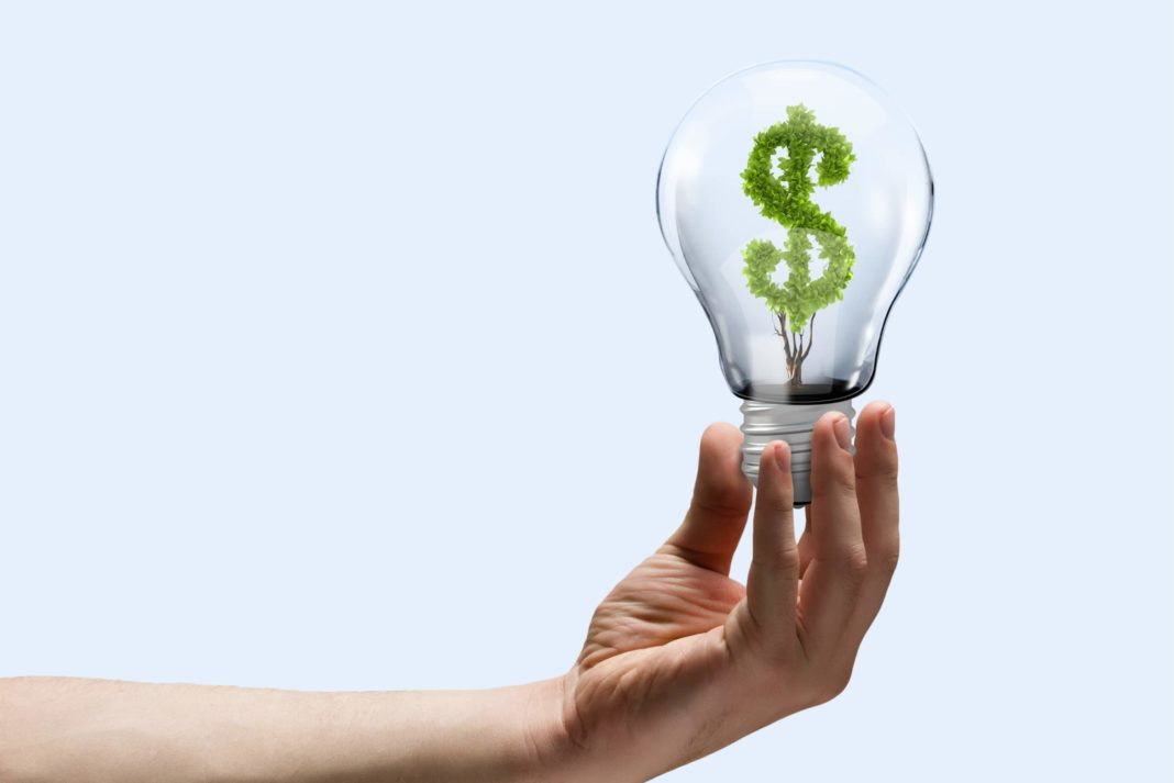 Hand Holding Light Bulb With Money Tree Saving Concept