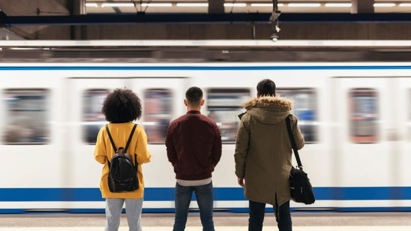 Public Transportation Friends Waiting For Train Subway Platform