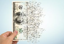 Shredded Currency Note Us Dollars Inflation Lose Of Purchase Power