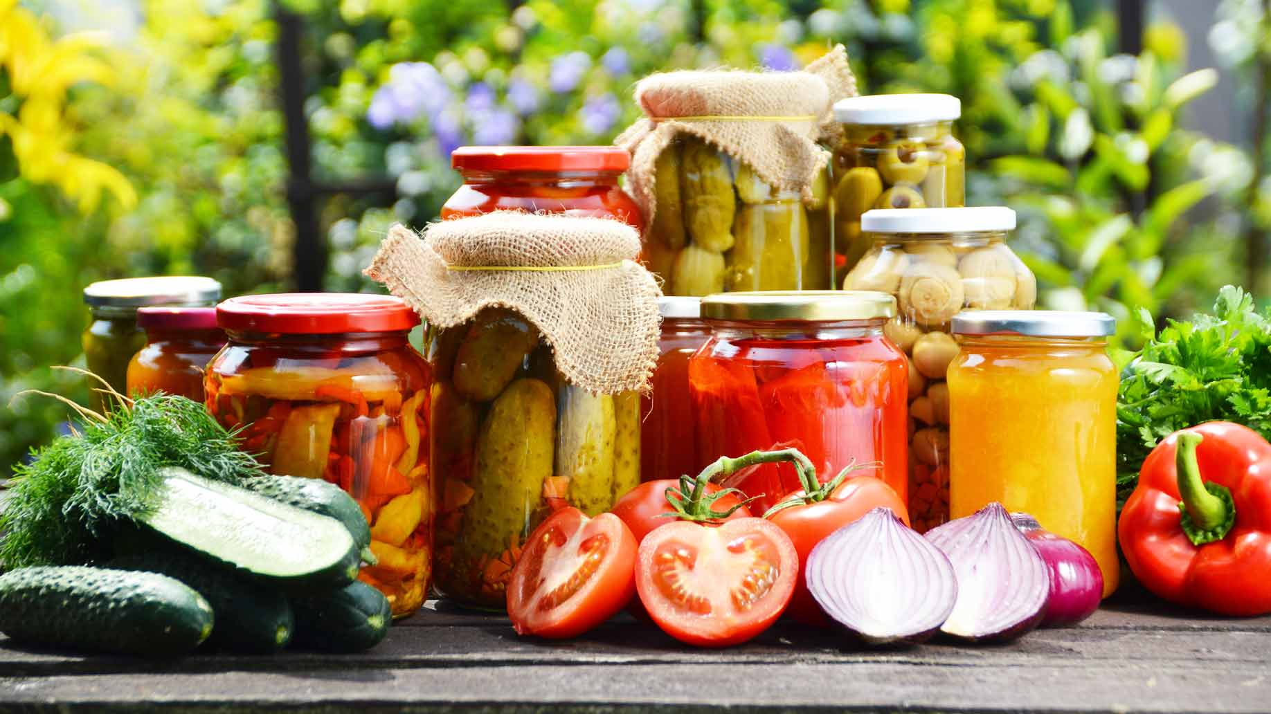 jars of preserved vegetables