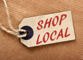 Shop Local Red Letters On Brown Tag