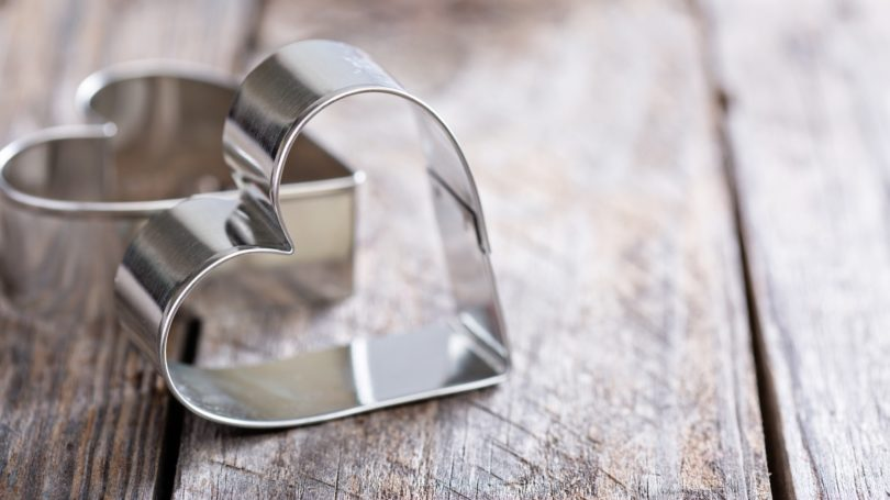 Heart Shaped Cookie Cutters Wooden Table