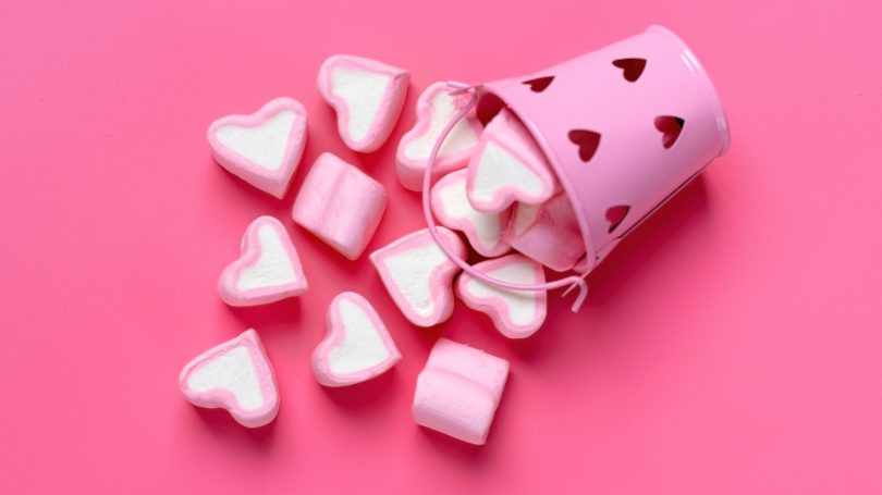 Heart Shaped Marshmallows Pink Tin Valentines Day Candy