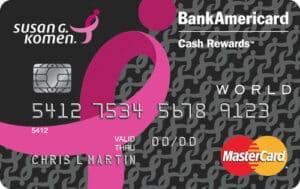 bank of america susan g komen credit card