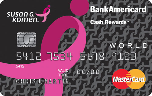 bank of america susan g komen credit card