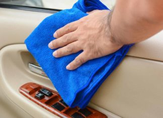 detailing car interior clean wipe cloth door