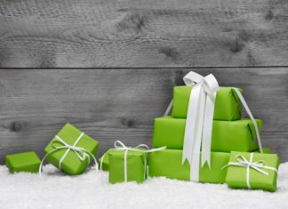 Stack Of Christmas Gifts Green Wrapping Paper
