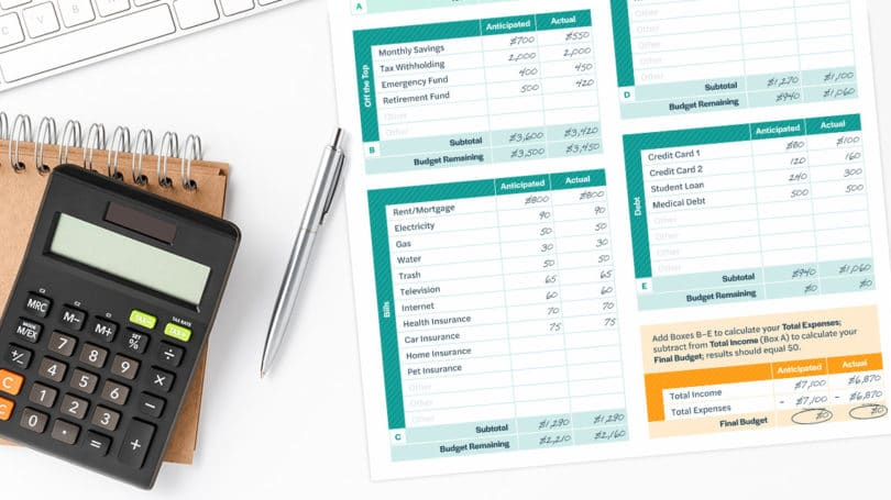 Zero Based Budget Printable With Calculator