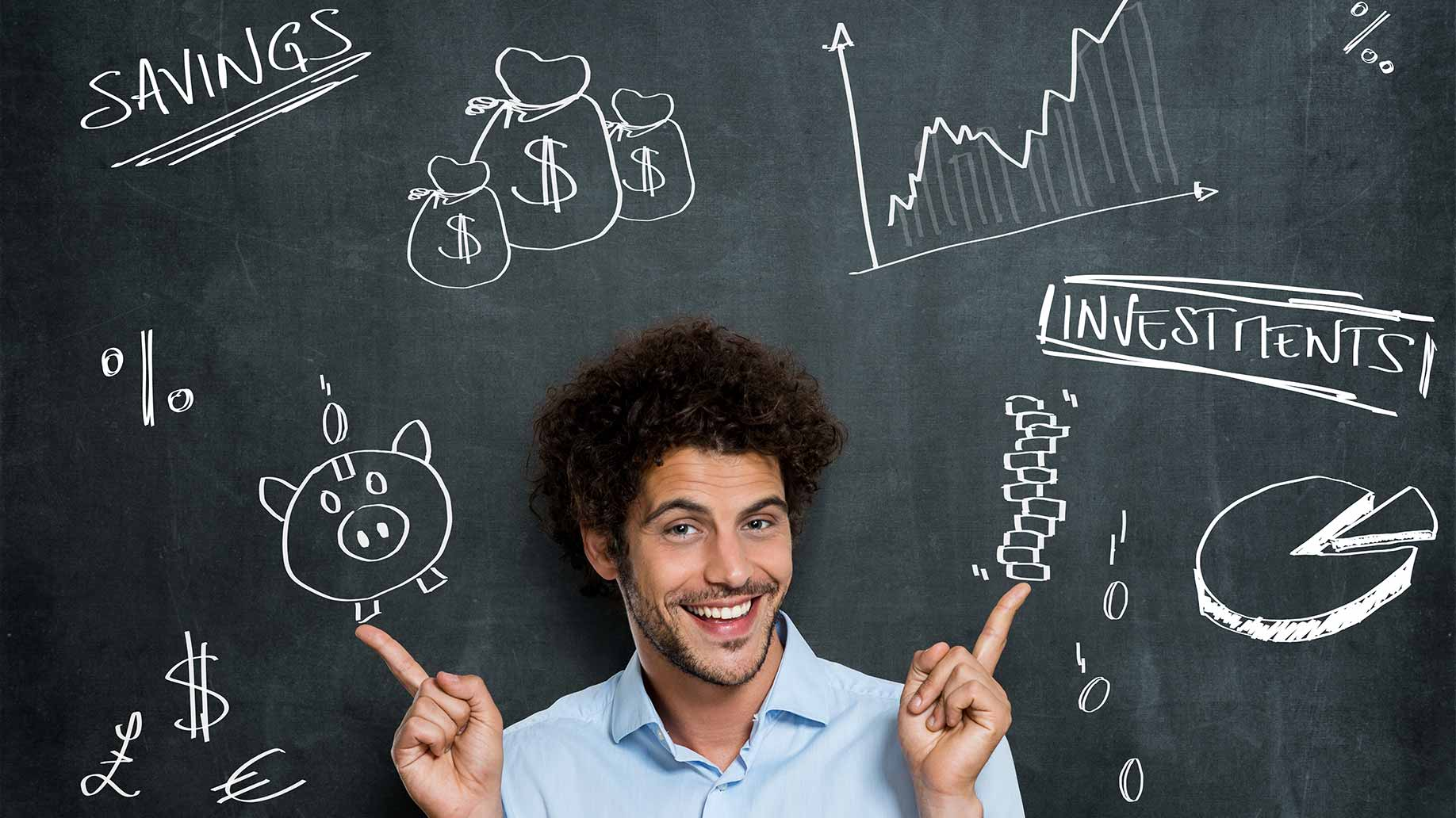 young guy savings investments chalkboard