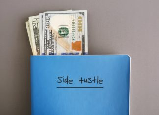 Side Hustle Hundred Dollar Bills Blue Notebook Planner