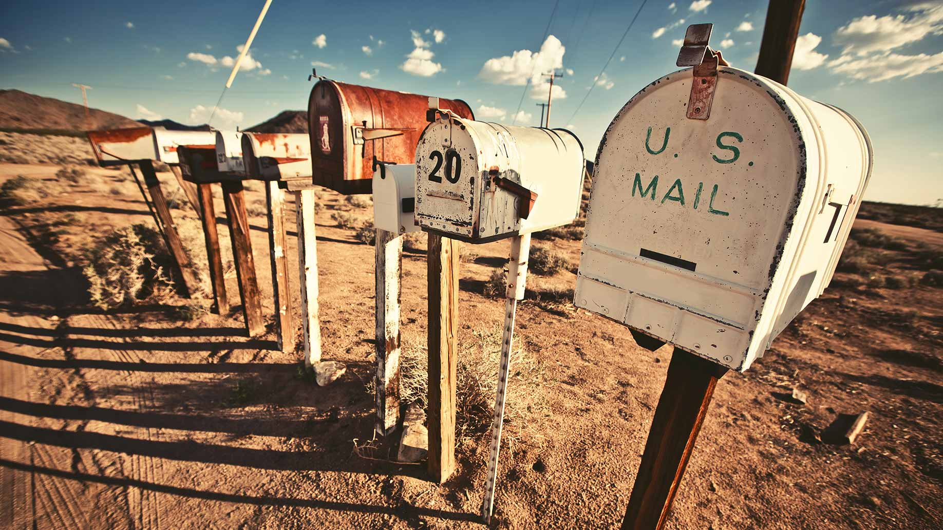 old mailboxes in the american desert