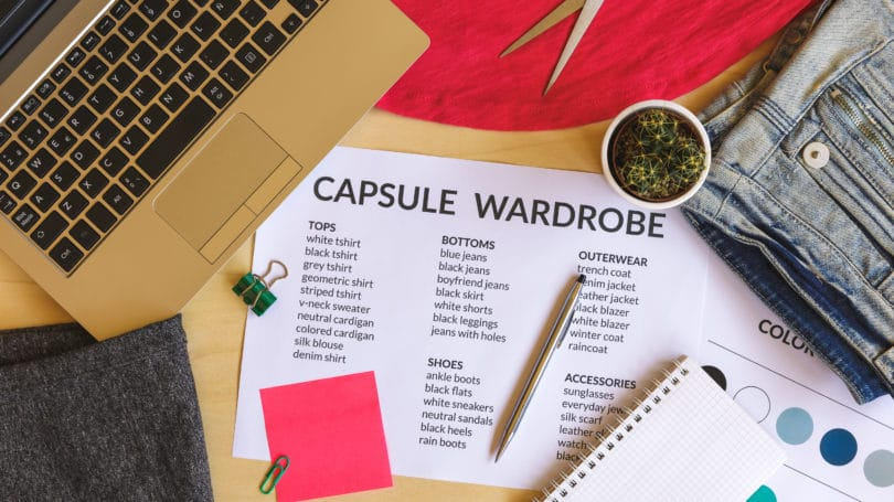 Capsule Wardrobe List Laptop Pen Paper Scissor