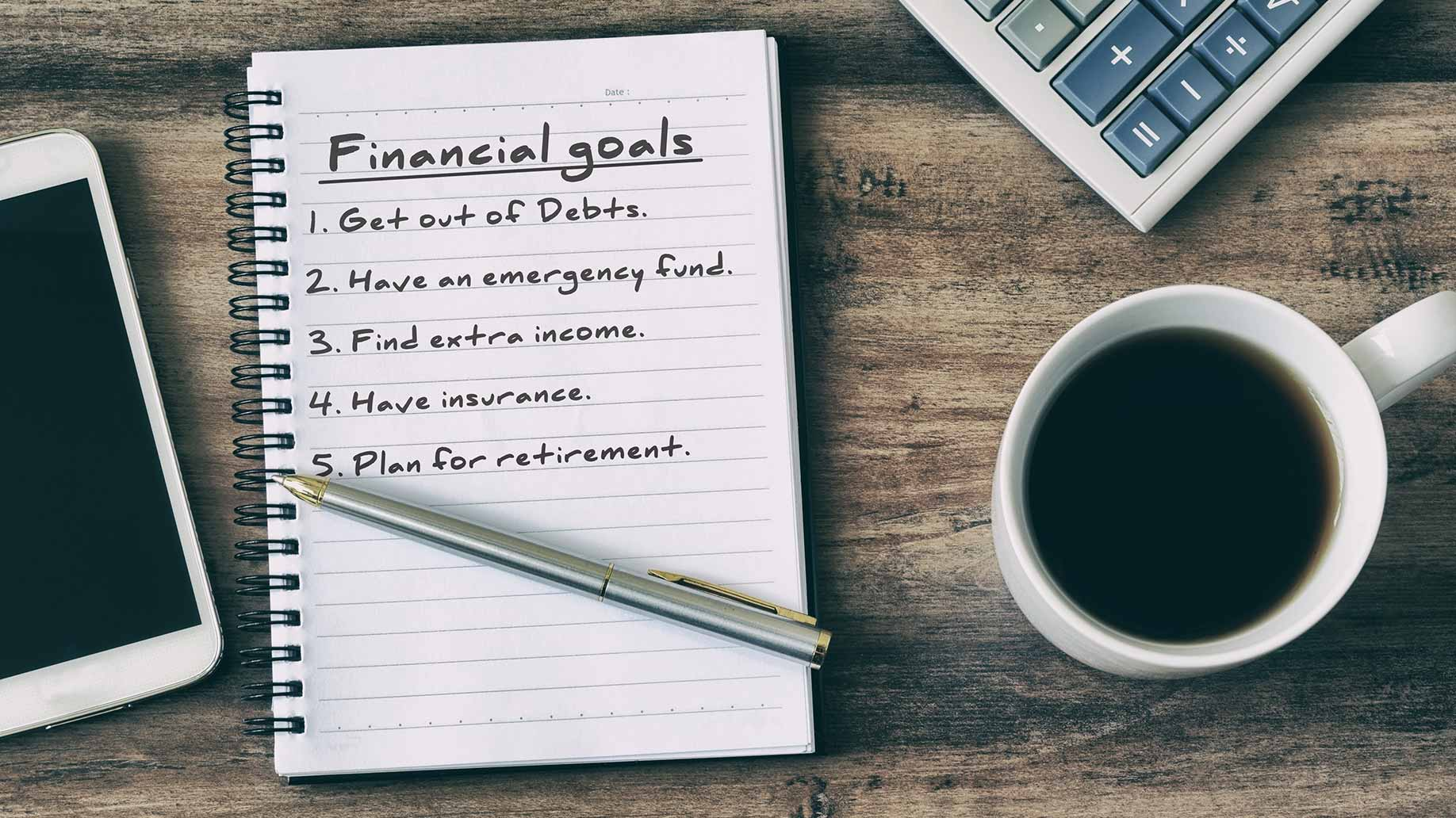 prioritize financial goals notebook