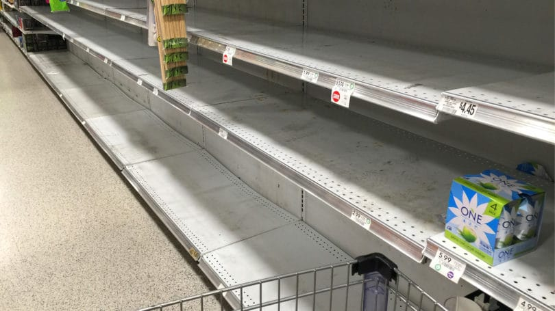 Empty Grocery Store Shelves