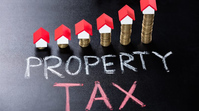 Property Tax Homes Coins Stack Chalk