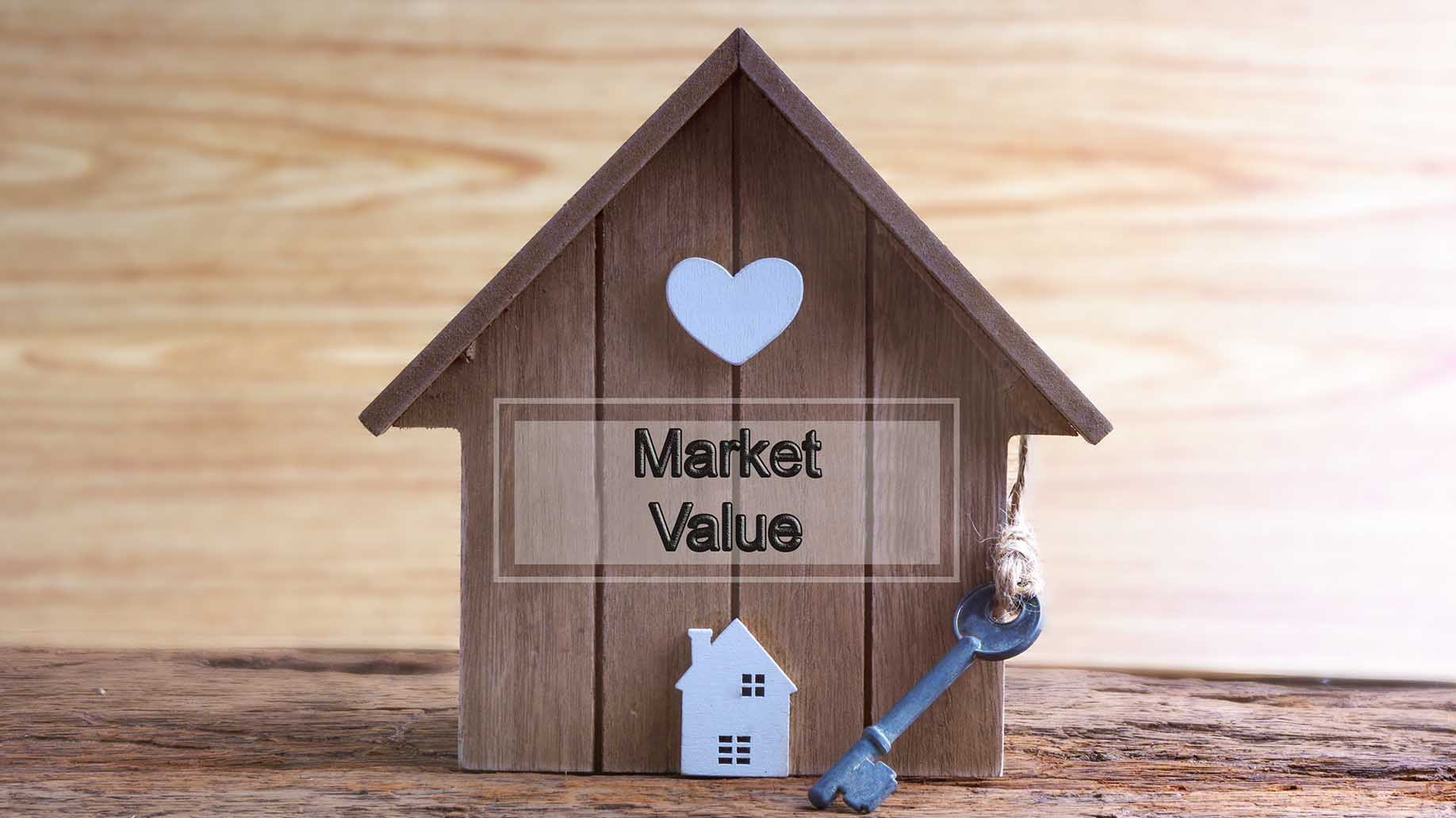 home made from wood with word written market value