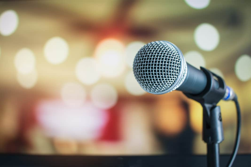 Public Speaking Microphone Blurred Lights