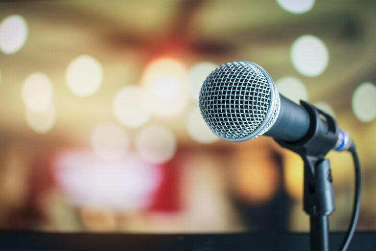 Public Speaking Microphone Blurred Lights