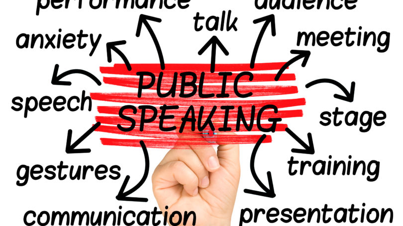 Public Speaking Related Words Hand Chart