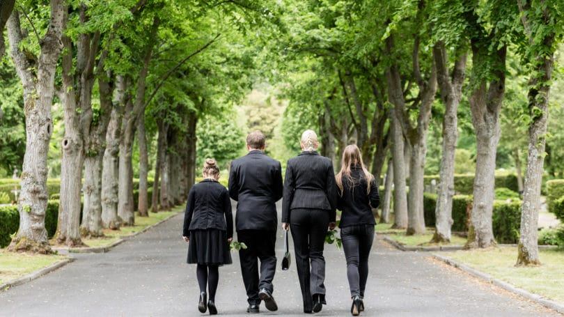 Funeral Burial Green Tree Suits Black Family