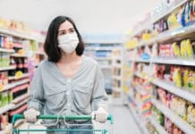 Asian Woman Wearing Mask Grocery Shopping Store Aisle Cart