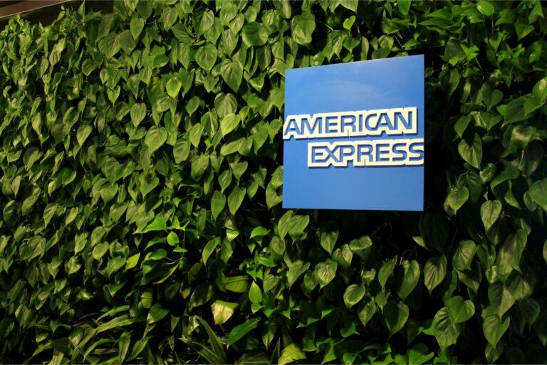 American Express Logo Green Wall
