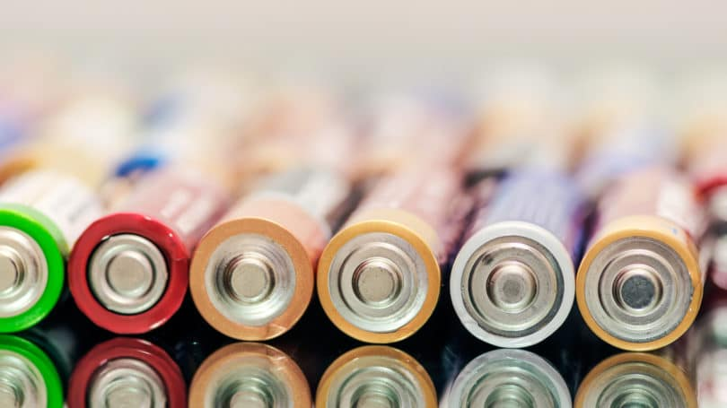 Batteries Lined Up Colorful