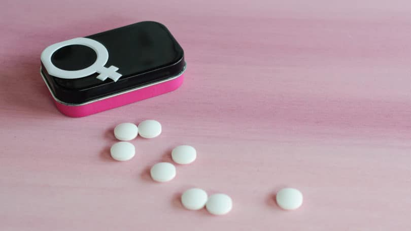 Birth Control Pills Pink White Tin