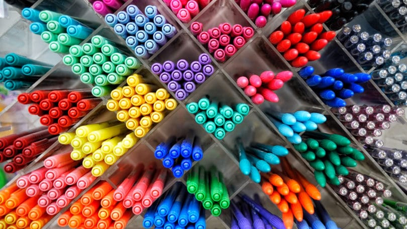 Pens Colorful Sorted