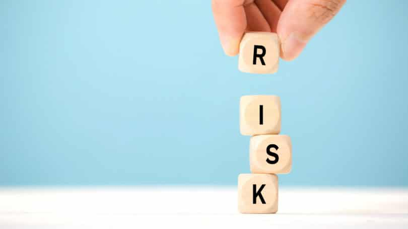 Risk Dice Letters Blue Background