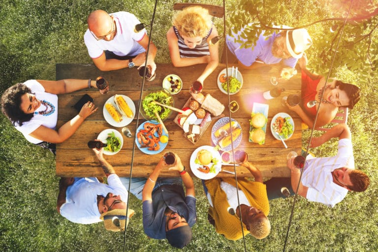 Family Meal Eating Together Friends Outdoors