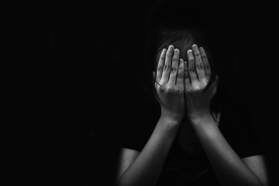Girl Hiding Face With Hands Black White