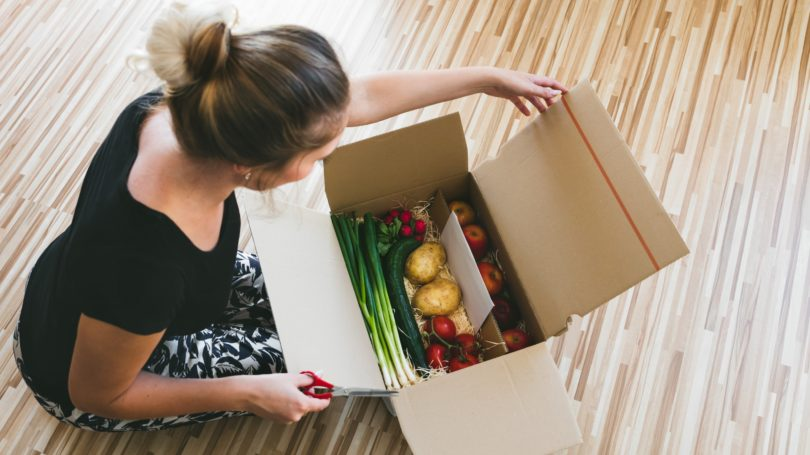 Grocery Delivery In Box Woman Opening
