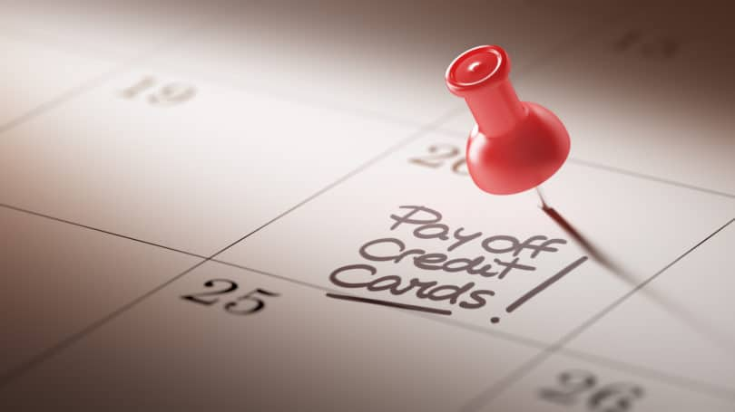 Thumb Tack Pay Off Credit Cards Calendar