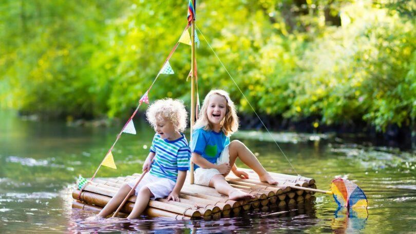 Wooden Raft Kids Outdoors Lake