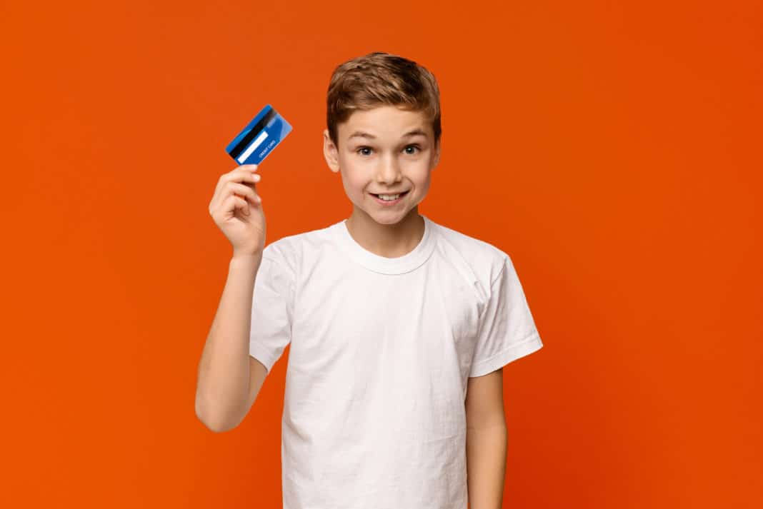 Boy Holding Credit Card Banking Kids