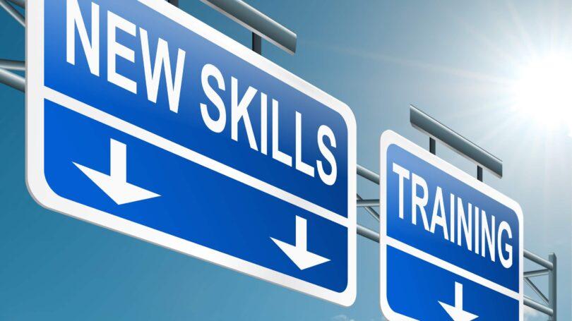 New Skills Training Signage Highway Blue