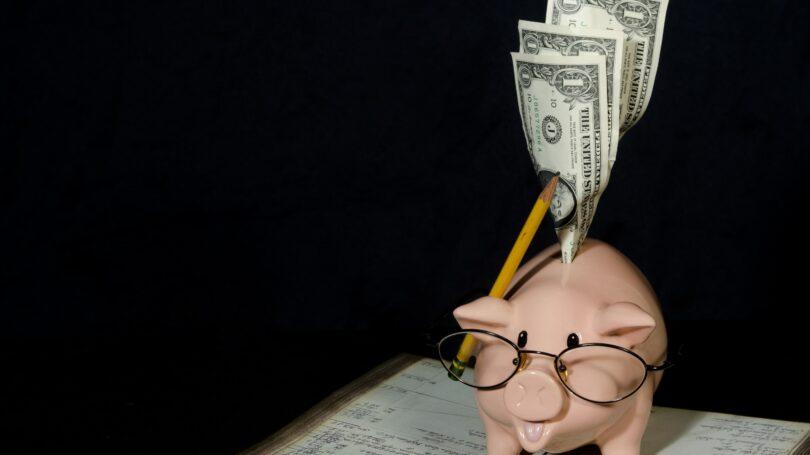 Save Money Piggy Bank Dollars Glasses