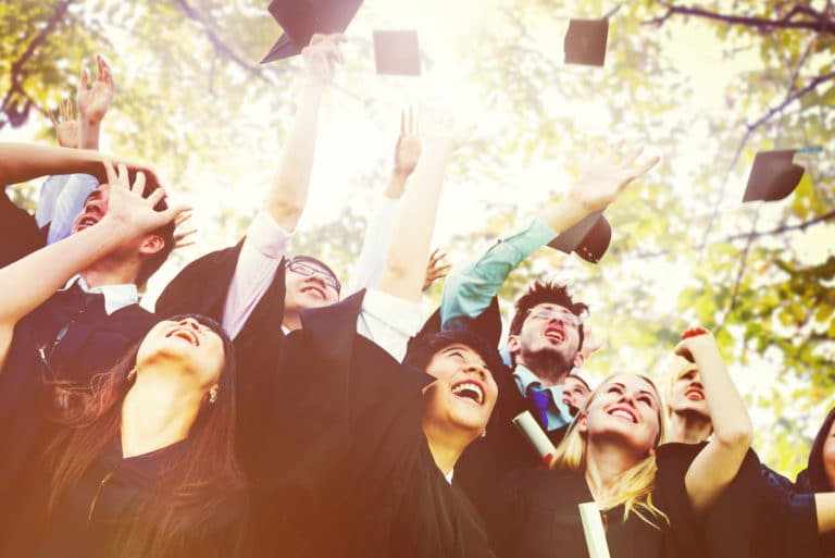 College Graduation Cap Gown Ceremony Diploma Outdoors