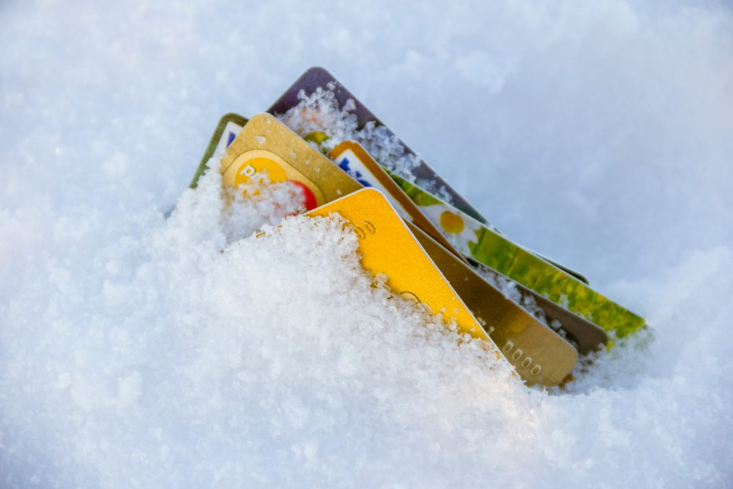 Credit Cards Frozen Snow