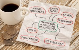 Financial Planning Napkin Hand Written Coins Coffee