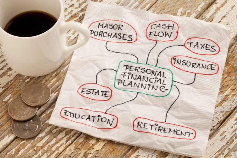 Financial Planning Napkin Hand Written Coins Coffee